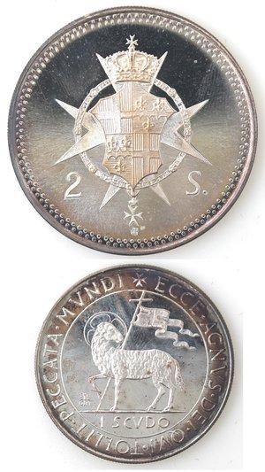 reverse: Monete Estere. Sovrano Ordine Militare di Malta. 2 Scudi e 1 Scudo 1974.