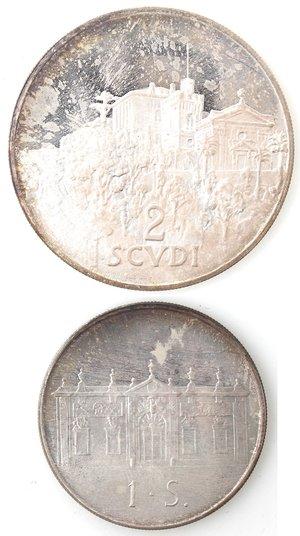 reverse: Monete Estere. Sovrano Ordine Militare di Malta. 2 Scudi e 1 Scudo 1977. Ag.