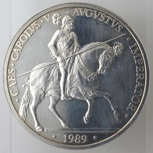 reverse: Spagna. 5 Ecu 1989. Ag 925.