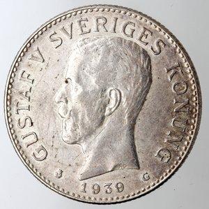 obverse: Svezia. Gustavo V. 2 Corone 1939 G. Ag 800.