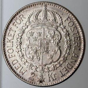 reverse: Svezia. Gustavo V. 2 Corone 1939 G. Ag 800.