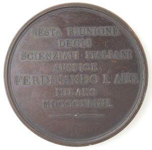 reverse: Medaglie. Milano. Medaglia 1844 per la VI riunione degli scenziati italiani. Ae.
