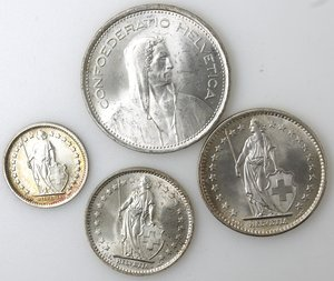 obverse: Svizzera. Lotto di 4 moneta da 5, 2, 1 e 1/2 Franco. Ag.