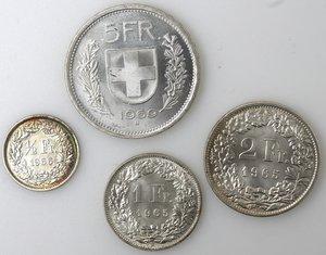 reverse: Svizzera. Lotto di 4 moneta da 5, 2, 1 e 1/2 Franco. Ag.
