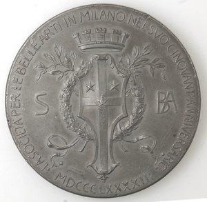 obverse: Medaglie. Milano. Medaglia 1893 per il cinquantesimo anniversario della Società per le Belle Arti in Milano.