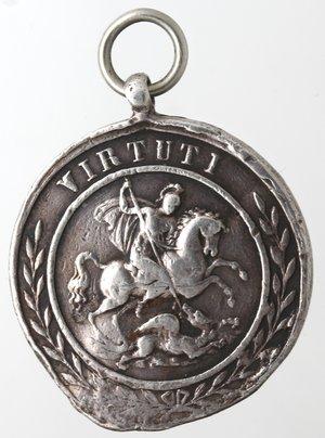obverse: Medaglie. Napoli. Medaglia del Reale Ordine Militare Cavalleresco di San Giorgio della Riunione. Ag.