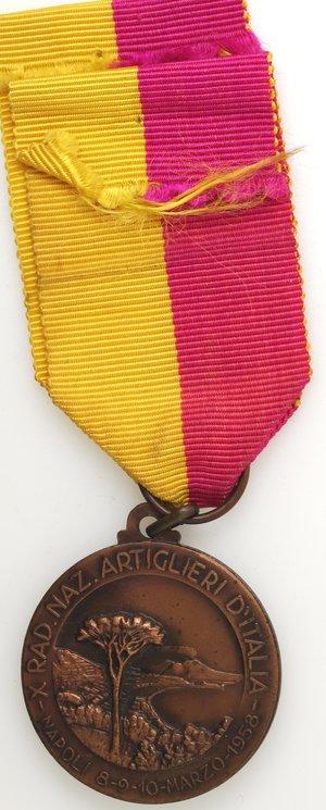reverse: Medaglie. Napoli. Medaglia 1958. Ae. X° Raduno Nazionale artiglieri - Battaglia Adua.