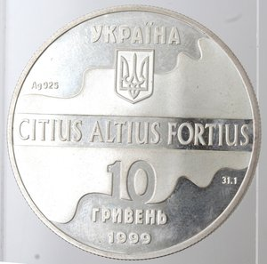 obverse: Ukraina. 10 Hryven 1999. Ag. 925.
