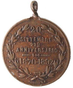 reverse: Medaglie. Roma. Medaglia 1892. Per il 20° anniversario della breccia di Porta Pia. AE.