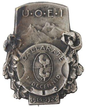 obverse: Medaglie. Distintivo UOEI Gallarate. I decennio 1914-1924. MB.