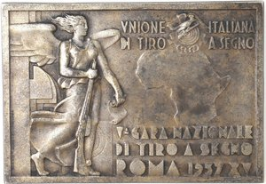 obverse: Medaglie fasciste. Roma. Placchetta per la V gara nazionale di tiro a segno A. XV, 1937. Ag.