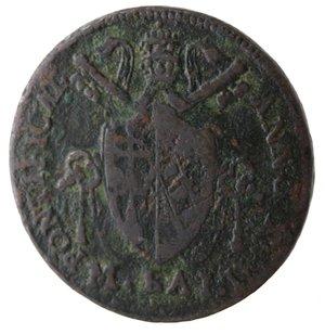 obverse: Bologna. Pio VII. Mezzo Baiocco 1815. Ae.