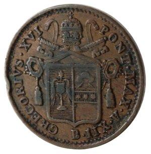obverse: Bologna. Gregorio XVI. Mezzo Baiocco 1842 An XII. Ae.