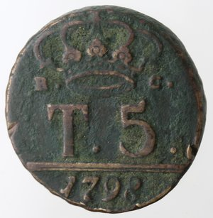 reverse: Napoli. Ferdinando IV. 5 Tornesi. Ae.