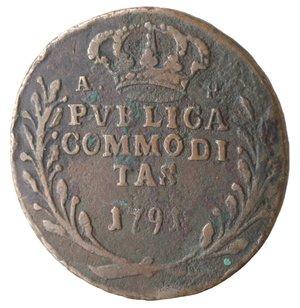 reverse: Napoli. Ferdinando IV. Pubblica 1791. Ae.