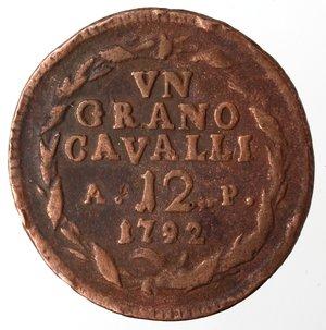 reverse: Napoli. Ferdinando IV. 1 Grano Cavalli 12 1792. Ae.