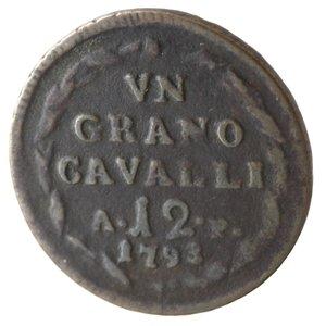 reverse: Napoli. Ferdinando IV. 1 Grano Cavalli 12 1793. Ae.