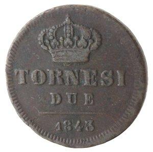 reverse: Napoli. Ferdinando II. 2 Tornesi 1843. Ae.