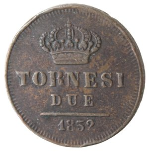 reverse: Napoli. Ferdinando II. 2 Tornesi 1852. Ae.