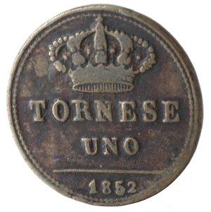 reverse: Napoli. Ferdinando II. Tornese 1852. Ae.