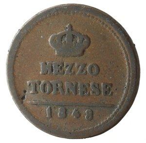 reverse: Napoli. Ferdinando II. Mezzo Tornese 1848. Ae.