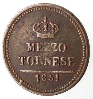 reverse: Napoli. Ferdinando II. Mezzo Tornese 1851. Ae.