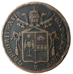 obverse: Roma. Gregorio XVI. Baiocco 1835 An V. Ae.