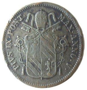 obverse: Roma. Pio IX. Baiocco 1850 An V. Ae.