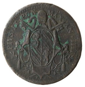 obverse: Roma. Pio IX. Mezzo Baiocco 1849 An IIII. Ae.