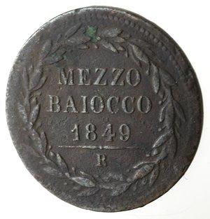reverse: Roma. Pio IX. Mezzo Baiocco 1849 An IIII. Ae.