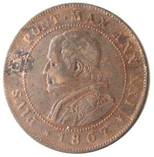 obverse: Roma. Pio IX. 2 Soldi 1867 An XXI. Ae.
