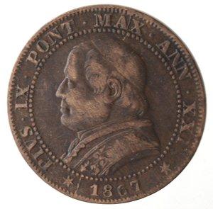 obverse: Roma. Pio IX. Soldo 1867 An XXI. Ae.