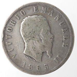 obverse: Vittorio Emanuele II. 2 Lire 1863 Valore Napoli. Ag.