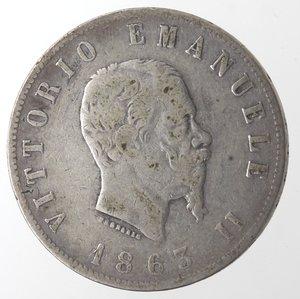 obverse: Vittorio Emanuele II. 2 Lire 1863 Stemma Napoli. Ag.
