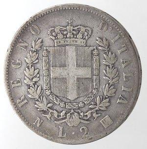 reverse: Vittorio Emanuele II. 2 Lire 1863 Stemma Napoli. Ag.