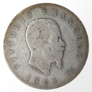 obverse: Vittorio Emanuele II. 2 Lire 1863 Stemma Torino. Ag.