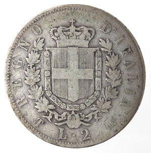 reverse: Vittorio Emanuele II. 2 Lire 1863 Stemma Torino. Ag.