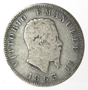 obverse: Vittorio Emanuele II. Lira 1863 Valore Milano. Ag.