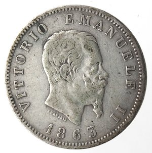 obverse: Vittorio Emanuele II. Lira 1863 Stemma Milano. Ag.