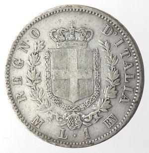 reverse: Vittorio Emanuele II. Lira 1863 Stemma Milano. Ag.