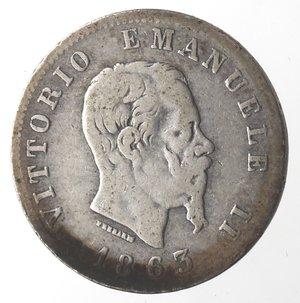 obverse: Vittorio Emanuele II. Lira 1863 Stemma Torino. Ag.