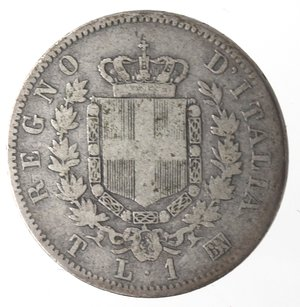 reverse: Vittorio Emanuele II. Lira 1863 Stemma Torino. Ag.