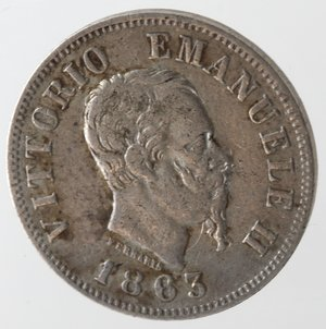 obverse: Vittorio Emanuele II. 50 Centesimi 1863 Valore Milano. Ag.