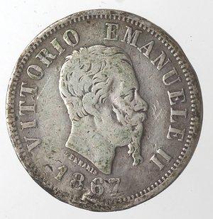 obverse: Vittorio Emanuele II. 50 Centesimi 1867 Valore Milano. Ag.