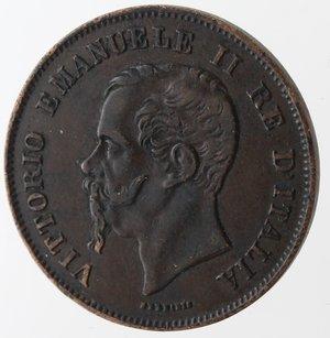 obverse: Vittorio Emanuele II. 5 Centesimi 1861 Milano. Ae.