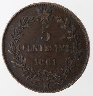 reverse: Vittorio Emanuele II. 5 Centesimi 1861 Milano. Ae.