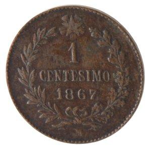 reverse: Vittorio Emanuele II. Centesimo 1867 Milano. Ae.