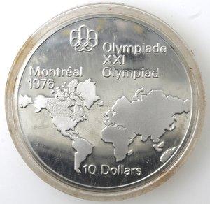 reverse: Canada.Elisabetta II.10 Dollari 1973. Olimpiadi di Montreal 1976. Mappa del mondo. AG 925.