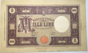 obverse: Banconote. Regno D Italia. 1.000 lire Grande M. (Fascio). 2°tipo. Dec min.12-12-1942.
