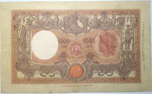 reverse: Banconote. Regno D Italia. 1.000 lire Grande M. (Fascio). 2°tipo. Dec min.12-12-1942.